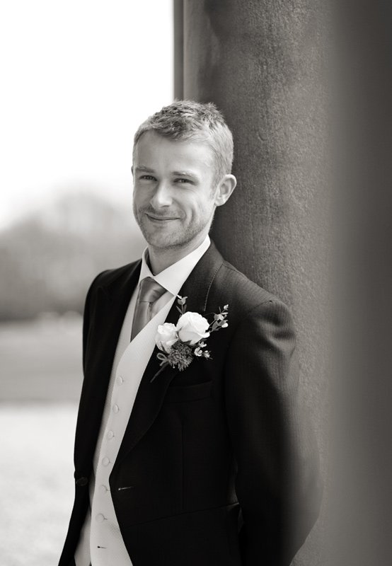 Photograph of the groom before his wedding at Dunstable Hall in Staffordshire