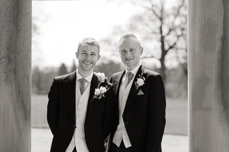 Wedding photograph of Groom and best man