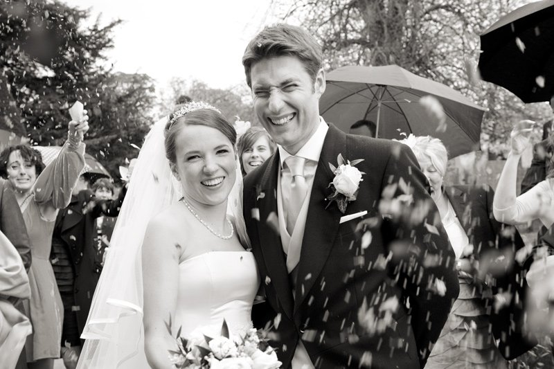 confetti at a wedding at Edensor Church in Chatsworth, Derbyshire