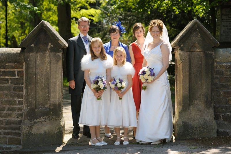 Group wedding photograph at Ecclesall Church, Sheffield