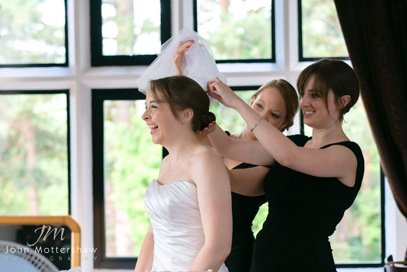 getting ready, wedding photography at the Maynard, near Sheffield