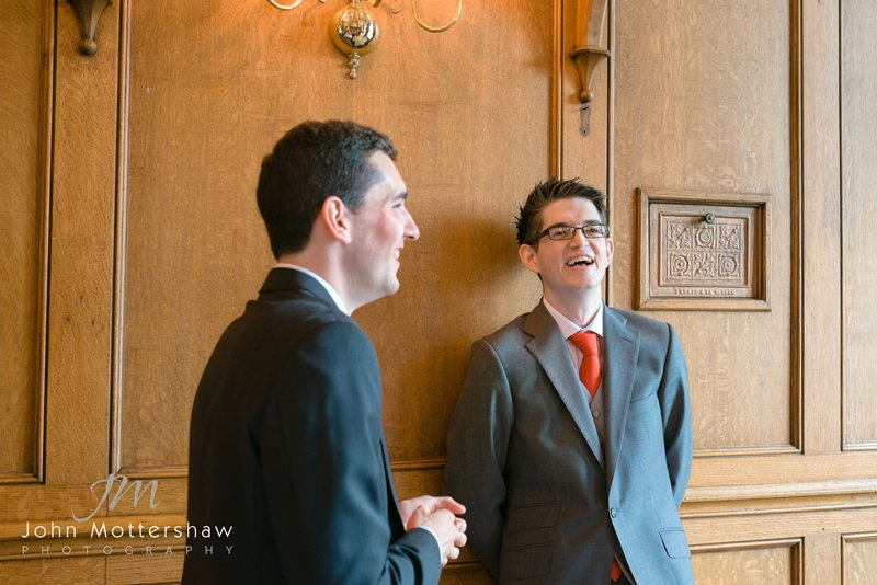 groom and best man awaiting the bride, wedding photography at the Maynard, near Sheffield