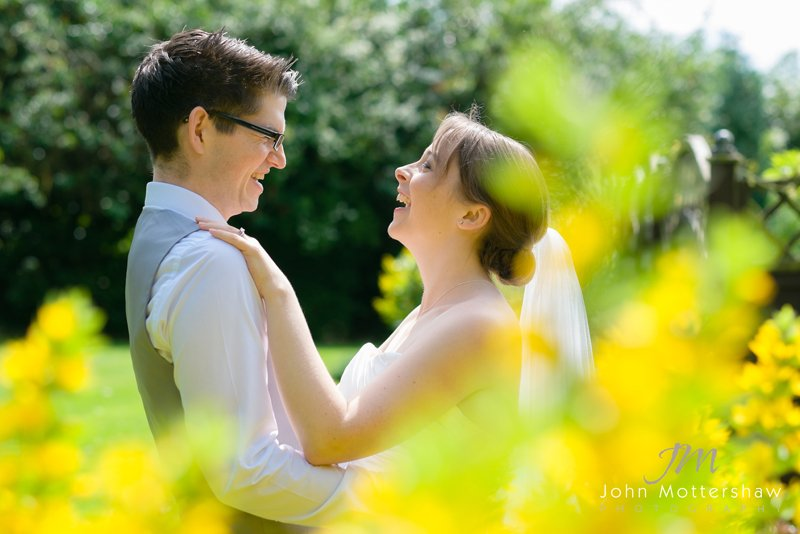 fun shot of bride and groom, wedding photography at the Maynard, near Sheffield
