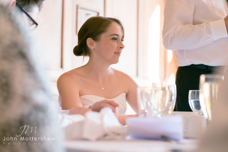 Wedding photography Sheffield. Photograph of bride listening to speeches.