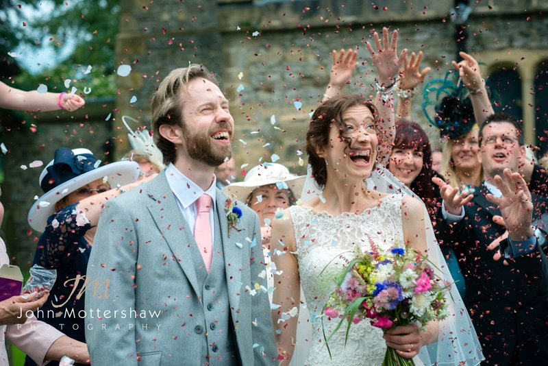 confetti shot by Derbyshire wedding photographer John Mottershaw