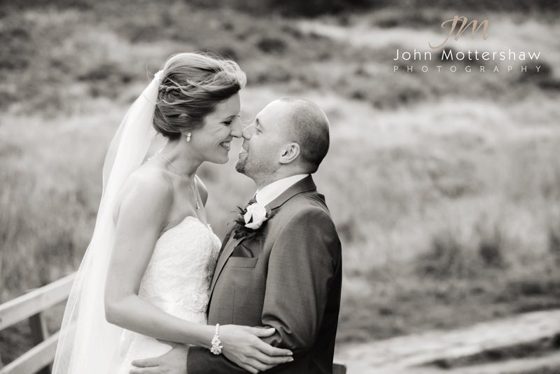 Wedding photography, Sheffield. Portrait taken at Padley Gorge near Grindlford