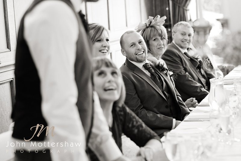Wedding photography at the Maynard, laughter over the speeches