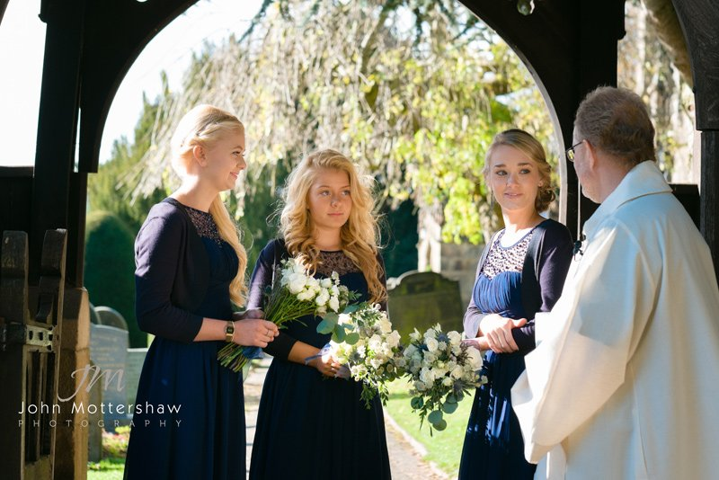 Wedding photographers Derbyshire at Hathersage Church