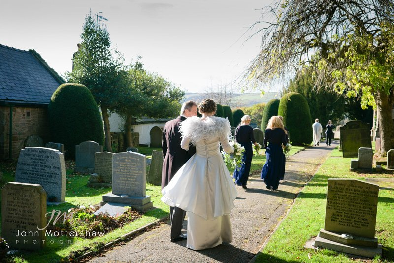 documentary wedding photography in Derbyshire at St Michael's Church, Hathaersage