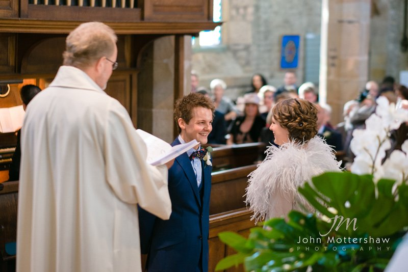 wedding photographers Sheffield. Ceremony at St Michael's Church, Hathersage