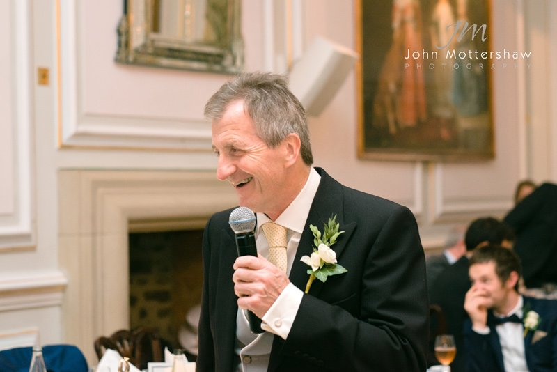 wedding photography of speeches at Hassop Hall