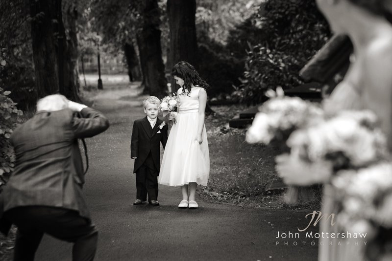 Derbyshire wedding photographer: bridesmaid and page boy at Ecclesall Church in Sheffield
